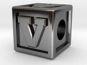 "Name Pieces; Letter ""V"" in Fine Detail Polished Silver"