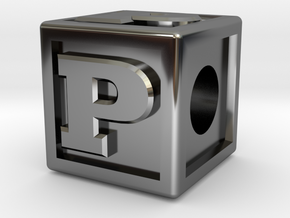 """Name Pieces; Letter """"P"""" in Fine Detail Polished Silver"""
