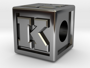 "Name Pieces; Letter ""K"" in Fine Detail Polished Silver"
