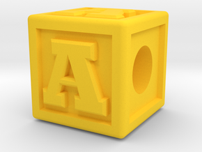 "Name Pieces; Letter ""A"" in Yellow Processed Versatile Plastic"