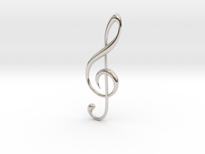 Classic Treble Clef Pendant in Rhodium Plated Brass