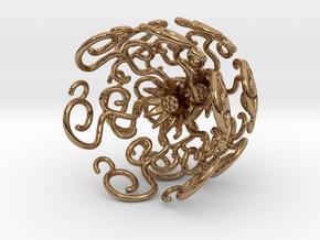 Flower Vine Jhumka - Indian Bell Earrings in Polished Brass