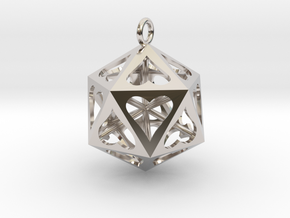 Icosahedron Love pendant in Rhodium Plated Brass