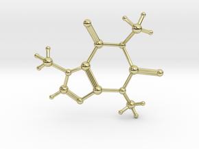 Caffeine Molecule in 18k Gold Plated Brass