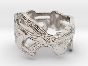 Raw3 Ring  in Rhodium Plated Brass: 9 / 59