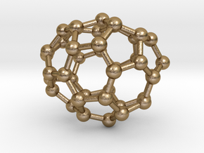 0112 Fullerene C40-6 c1 in Polished Gold Steel