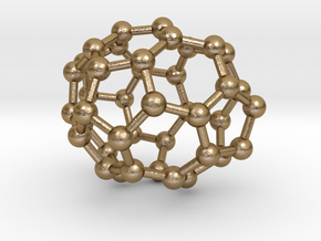0115 Fullerene C40-9 c2 in Polished Gold Steel