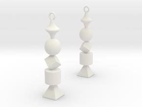 Geometric Earrings in White Natural Versatile Plastic