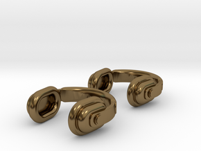 Headphones Cufflinks in Polished Bronze