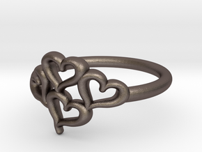 Hearts Ring in Polished Bronzed Silver Steel