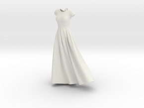 Wind Blown Gown in White Natural Versatile Plastic