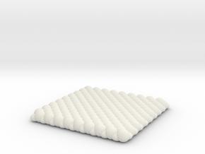Pebble Coaster - Checkered Pattern 0 (Small Size) in White Natural Versatile Plastic