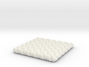 Pebble Coaster - Checkered Pattern 1 (Small Size) in White Natural Versatile Plastic