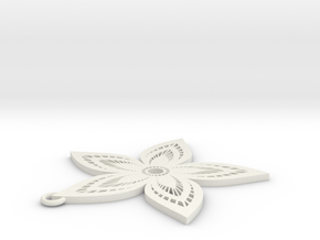 Pendant Flower 3 in White Natural Versatile Plastic