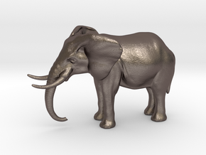 Elephant 4 inch height full color in Polished Bronzed Silver Steel