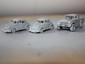 2 Morris Minors at 1/48  in White Natural Versatile Plastic