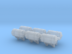 1:96 Life Boat Canister for ship side - set of 6 in Smooth Fine Detail Plastic