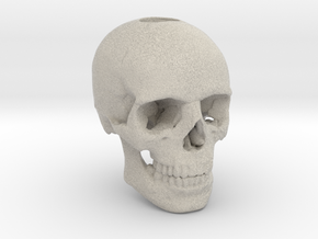 25mm 1in Keychain Bead Human Skull in Natural Sandstone