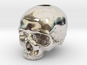 Skull in Rhodium Plated Brass