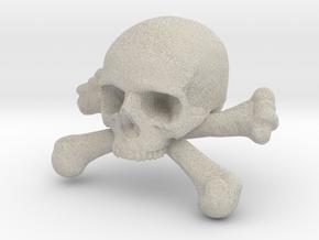 12mm .47in Skull & Bones for earring in Natural Sandstone