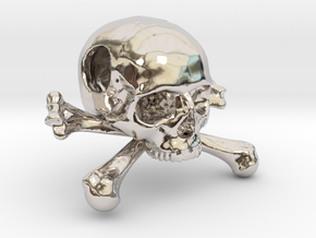 25mm 1in Bead Skull & Bones Pendant Crane in Rhodium Plated Brass