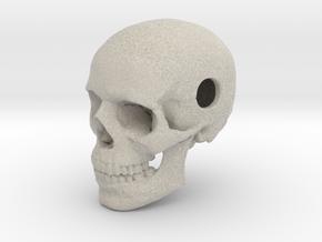 25mm 1in Bead Human Skull Pendant Crane Schädel in Natural Sandstone