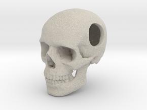 18mm .7in Bead Human Skull Crane Schädel че́реп in Natural Sandstone