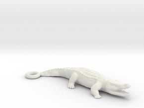 Crocodile Pendant in White Natural Versatile Plastic