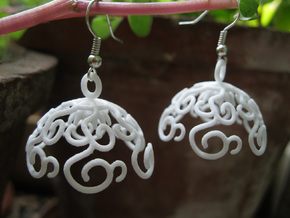 Flower Vine Jhumka - Indian Bell Earrings in White Processed Versatile Plastic