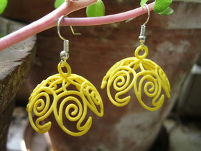 Mango Jhumka - Indian Bell earrings in Yellow Processed Versatile Plastic