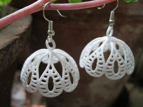 Water Lily Jhumka - Indian Bell Earrings in White Processed Versatile Plastic