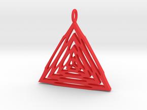 Trianglular Pendant in Red Processed Versatile Plastic