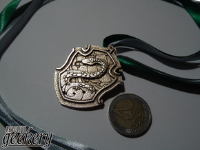Slytherin House Crest - Pendant SMALL in Polished Bronzed Silver Steel