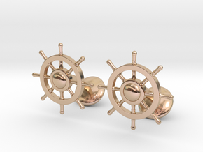 Ship Rudder Cufflinks in 14k Rose Gold Plated Brass