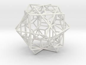 3 Cube Compound, round edges in White Natural Versatile Plastic