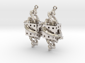 Fractal Earrings - El corazón del matemático in Rhodium Plated Brass