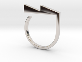 Adjustable ring. Basic model 6. in Rhodium Plated Brass