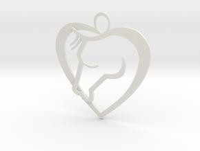 Heart Horse Pendant in White Natural Versatile Plastic