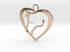Heart Horse Pendant in 14k Rose Gold Plated Brass