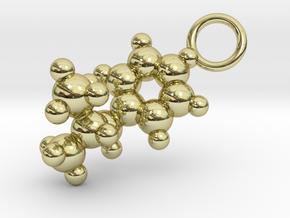 Methamphetamine Molecule Pendant - 20mm  in 18k Gold Plated Brass