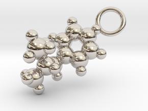 Methamphetamine Molecule Pendant - 20mm  in Rhodium Plated Brass
