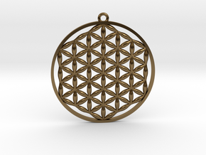 Flower Of Life Pendant in Polished Bronze