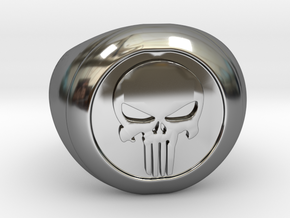 Punisher Size 7.5 in Fine Detail Polished Silver