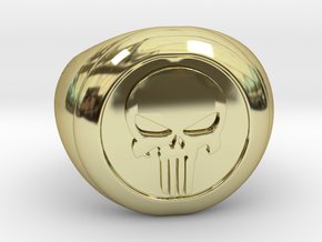 Punisher Size 7.5 in 18k Gold Plated Brass
