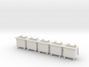 HO scale(1:87) Trash bin with wheels in White Natural Versatile Plastic