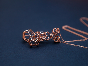 Vertical dodecahedron pendent in 14k Rose Gold Plated Brass