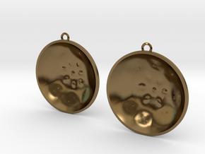 """Double Tenor """"surface"""" steelpan earrings, L in Polished Bronze"""