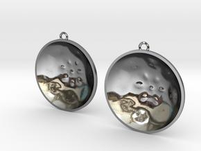 """Double Tenor """"surface"""" steelpan earrings, L in Fine Detail Polished Silver"""