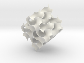 Gyroid cube - 8 unit cells in White Natural Versatile Plastic