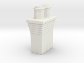 Double Brick Chimney, KCS Station Noel, Missouri - in White Natural Versatile Plastic